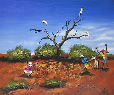 aboriginal painting art print poster By Andy Baker aussie beach cricket outback