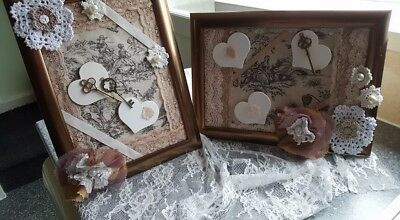 pair of A4 sized Vintage look mixed media collage pictures (shabby chic)