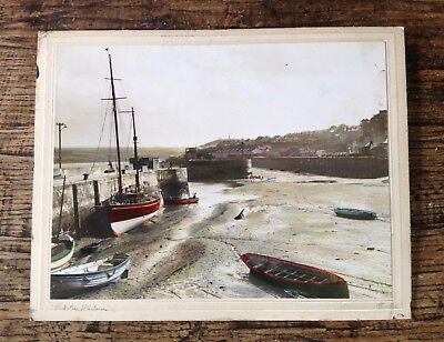m i cownley hand coloured photograph of Padstow Harbour