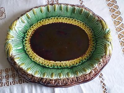 Majolica Victorian Bread Plate With Verse Round The Rim