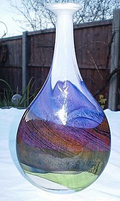 Studio Glass Vase - Thomas Petit 'moors Flattened Flask ' Design