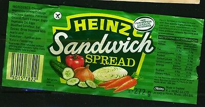 UK  1980s? Heinz Sandwich Spread label with creases