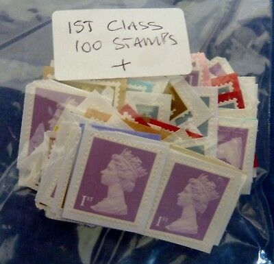 100 +  Unfranked  1st class stamps on paper.
