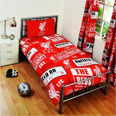Kids Liverpool FC Print Football Club Single Duvet Quilt Cover Bedding Set