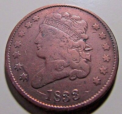 Nicer...1833 Half Cent...Better Date***Higher Mid Grade Details***