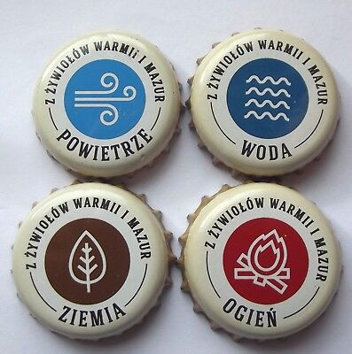 Braniewo - 4/4 Beer Caps Set Earth/wind/fire/water - Poland