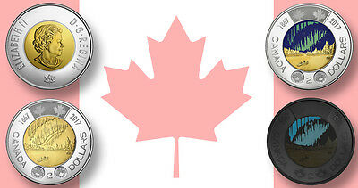 CANADA 2017 New 2 x Toonie KIT 150th of Canada with GLOW IN THE DARK (From roll)