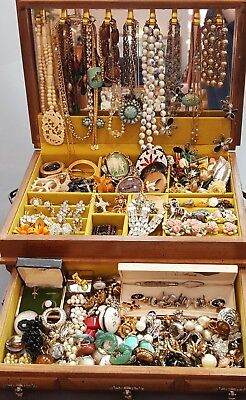 Estate Find Large Vintage Jewelry Lot With Jewelry Box