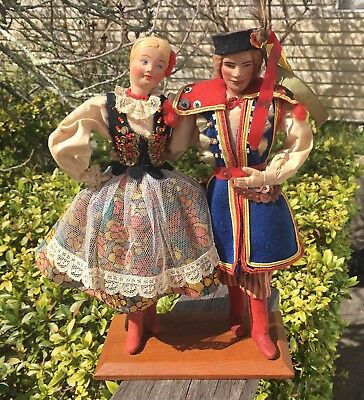 Pair Of antique vintage Dolls In Traditional Polish National Costume Boy Girl