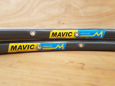 Vintage 28 HOLE Mavic Open4CD dark anodized clincher rims 700c - 2 available
