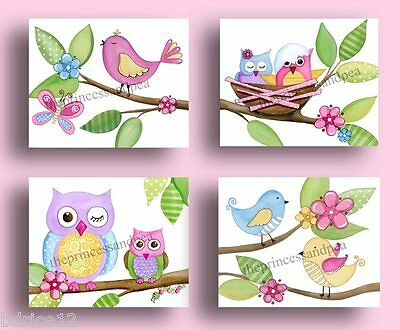 Owl Nursery Wall Art Decor Love Nature Circo Bedding Print Child Baby