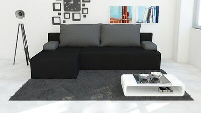 Brand New LEFT Corner Sofa Bed HUGO 2 With Storage in BLACK with GREY Pillows