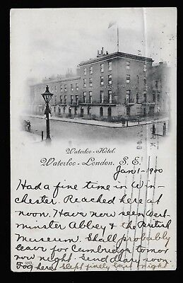 GB Queen Victoria 1900 post card London to New Jersey USA. Waterloo Hotel. Good.