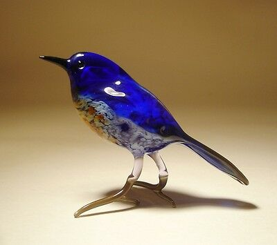 "Blown Glass Figurine ""Murano"" Art animal BLUE Bird"