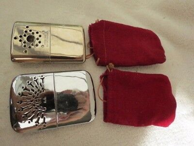 X2 Vintage Empire Made Nickel Plate Hand Warmers