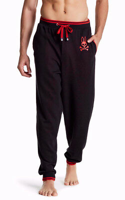 Psycho Bunny Men's Tonal-Stripe Anthracite Red Cuffed Jogger Lounge Pants, Large