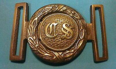 Reproduction Civil War CS Confederate States Interlocking Brass Belt Buckle New