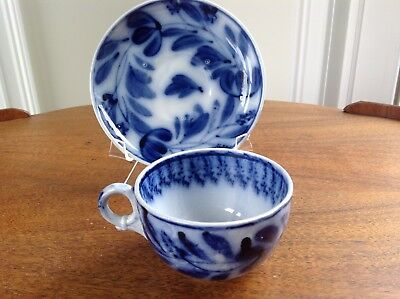 Antique Flow Blue Brush Stroke Cup & Saucer ~ Spinach or Hops Pattern ~