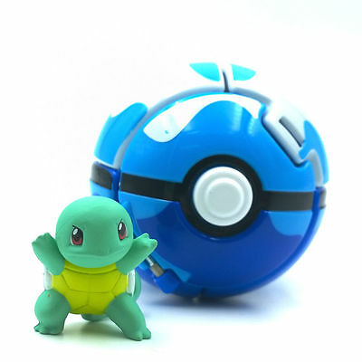 """New arrival 2"""" Poke ball Bounce Pokeball with Pokemon figure toys TOMY Squirtle"""