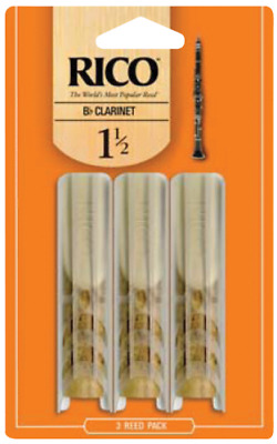 Rico Pack of 3 Bb Clarinet Reeds, Strength 1.5, RCA0315