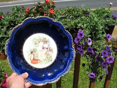 PORTRAIT CHINA DECORATIVE CHINA PLATE with COBALT BLUE BOARDER