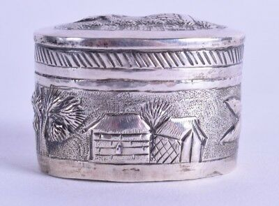 lovely 19th century indian rouge pot - antique silver box - 23 grams - silver