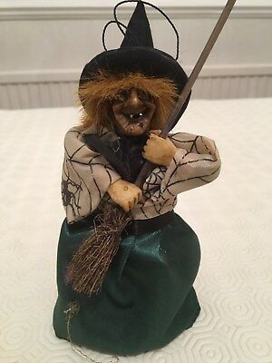 Small Collectable Light Up Eyes & Cackling Austrian Folk Art Wicked Witch Figure