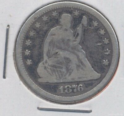 1876 Seated Liberty silver quarter dollar coin. VG/AG. (lot#1)