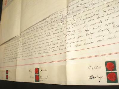 1897 Vellum Indenture, Ashen, Essex & 6 Seals, A-Grade
