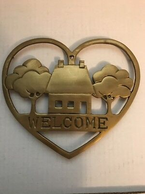 Vintage Brass Heart Shaped Home Trees Welcome Trivet Wall Decor 7 1/2""