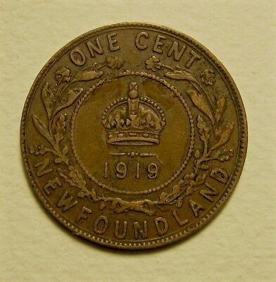 1919 c NEWFOUNDLAND LARGE CENT - COLLECTOR COIN - ABT.  VERY FINE