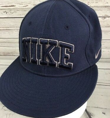 afd4c41b8b8 Nike Hat Snapback Cap Retro Wool Acrylic Blend Spell Out Blue Swoosh One  Size