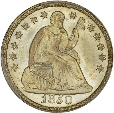 1850 Seated Half Dime PCGS MS-66 CAC Frosty White!!