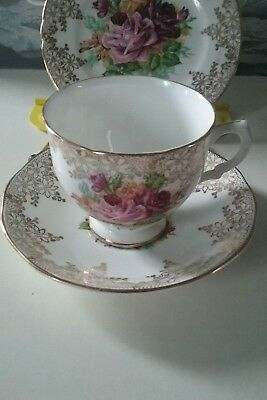 Ashley Fine Bone China Gold Chintz Trio Cup Saucer & Side Plate Roses