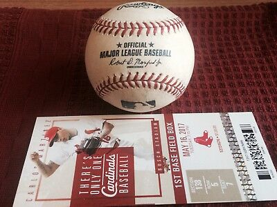 Dustin Pedroia Foul Ball Game Used Rawlings Major League Baseball w/ Ticket Stub