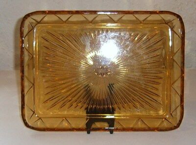 Large Art Deco Amber Glass Dressing Table Tray