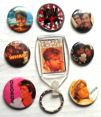 WHAM GEORGE MICHAEL  x 7  badges + keyring, ANDREW RIDGELEY,   ORIGINAL '80's