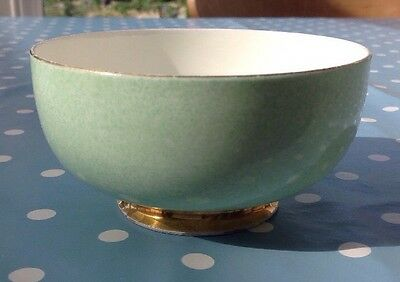 Vintage Paragon Fine Bone China Mint Mottled Green Bowl. Gold Rim.