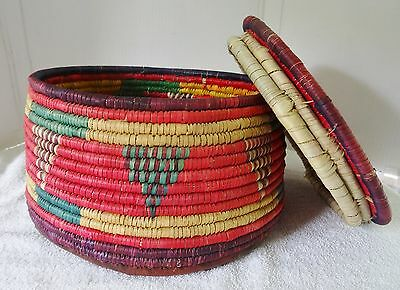 "Vintage African Tribal Hand Woven Basket With Lid 14"" Diameter"