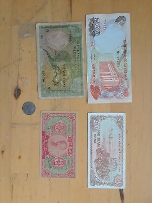 Lot of vintage banknotes paper money currency Vietnam