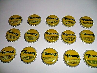 Soda pop bottle caps Lot of 15 VERNORS  new old stock Traverse City Michigan !