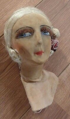 Vintage Boudoir Doll's Head, Large Size with Silk Hair & Flowers