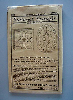 Vtg: 1910s BUTTERICK Transfer  # 149  2Pillows (1 Oval, 1 Square) Yellow  UNUSED