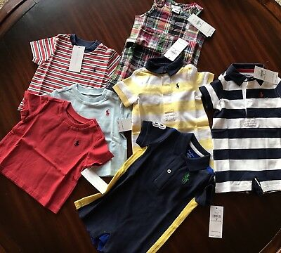 Polo Ralph Lauren Baby Boy 7 PC Lot Shirts One-Piece Rompers Size 3 Months NEW!