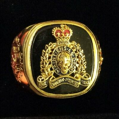 """X-Large """"royal Canadian Mounted Police"""" 24 Kt Gold Plated Sterling Men's Ring"""
