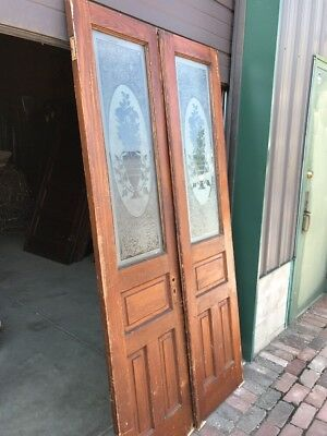 Ar 79 Match Pair Antique Etched Double Doors 41.75 X 83