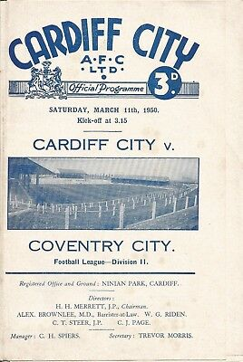 CARDIFF CITY v COVENTRY CITY  1949/50