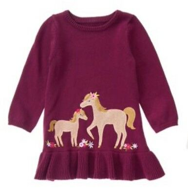 NWT Gymboree Plum Pony Horse Sweater Dress Baby Toddler Girls 3t