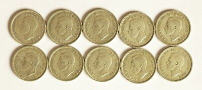 Ten George VI silver sixpence coins consecutively dated 1937 to 1946