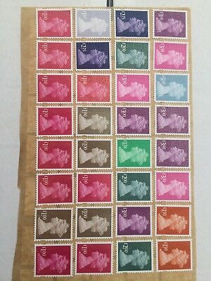 mix of high value unfranked gb stamps on greaseproof paper